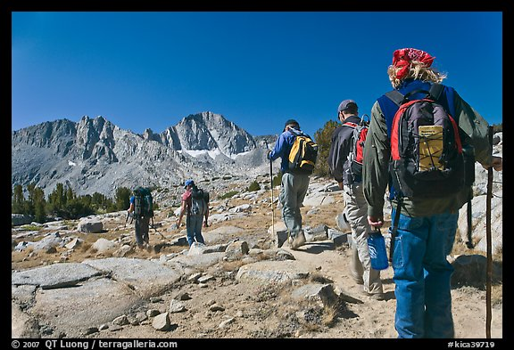 Close view of hikers, Dusy Basin. Kings Canyon National Park, California (color)