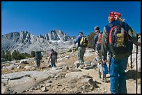 Close view of hikers, Dusy Basin. Kings Canyon National Park, California