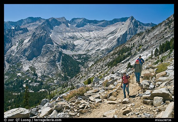 Hikers on trail above Le Conte Canyon. Kings Canyon National Park, California (color)