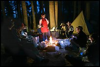 Dinner around night campfire, Le Conte Canyon. Kings Canyon National Park, California (color)