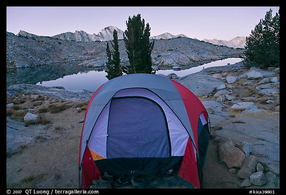 Tent and lake, dawn, Dusy Basin. Kings Canyon National Park, California (color)