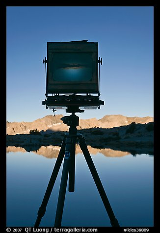 Picture Photo Large Format Camera With Inverted Image Of Mountain Landscape On Ground Glass Dusy Basin Kings Canyon National Park California
