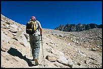 Hiker heading towards Biship Pass, Dusy Basin. Kings Canyon National Park, California
