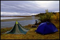 Camp on a bluff overlooking the Kobuk River. Kobuk Valley National Park, Alaska (color)