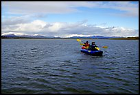 Canoeists Paddling on the wide Kobuk River. Kobuk Valley National Park, Alaska