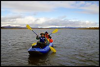 Canoeists Paddling on the Kobuk River. Kobuk Valley National Park, Alaska