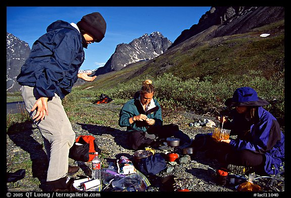Camp breafast. Lake Clark National Park, Alaska (color)