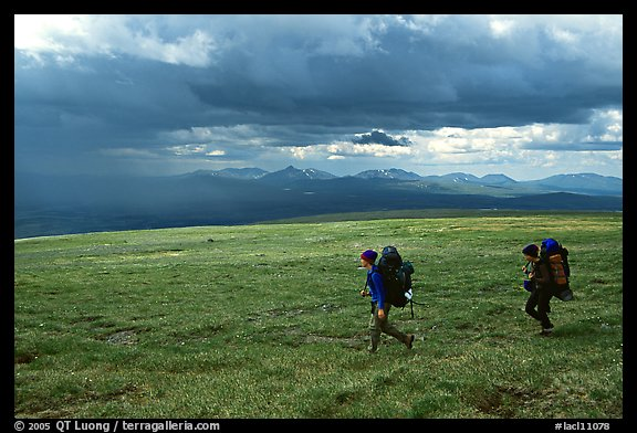 Two backpackers seen from the side walking fast in the tundra. Lake Clark National Park, Alaska (color)