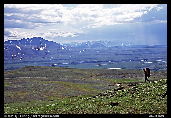 Backpacker on a ridge above vast expenses of tundra. Lake Clark National Park, Alaska (color)