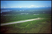 Above the Talkeetna airport. The Alaska range looks close, because it rises so abrupty above the plain. Alaska (color)