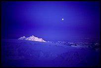 Midnight alpenglow on Mt Hunter, seen from the 14300ft on Mc Kinley. Denali, Alaska (color)