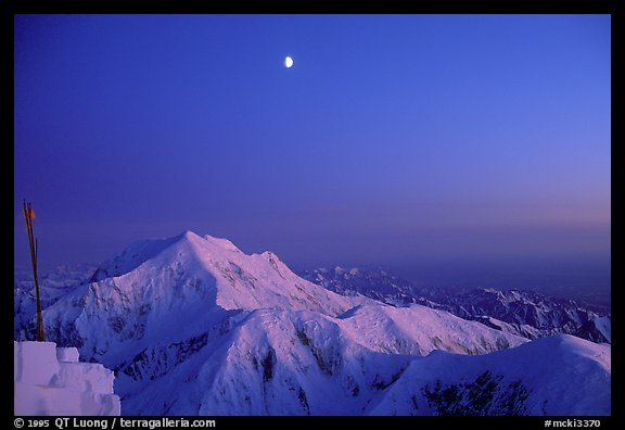 Midnight sunset over Mt Foraker from the West Rib. Denali, Alaska (color)