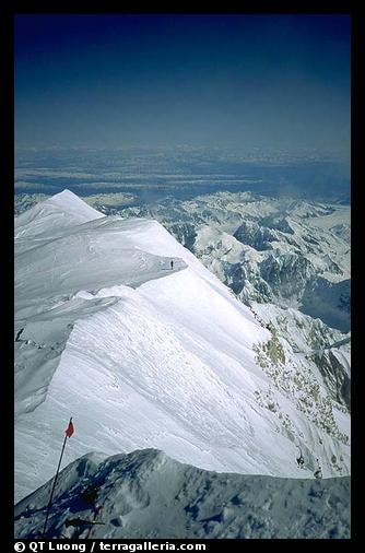 A view from the summit of Mt McKinley. Denali, Alaska (color)