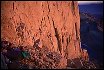 Climbers on a bivy ledge in the East face of Mt Whitney. Sequoia National Park, California (color)