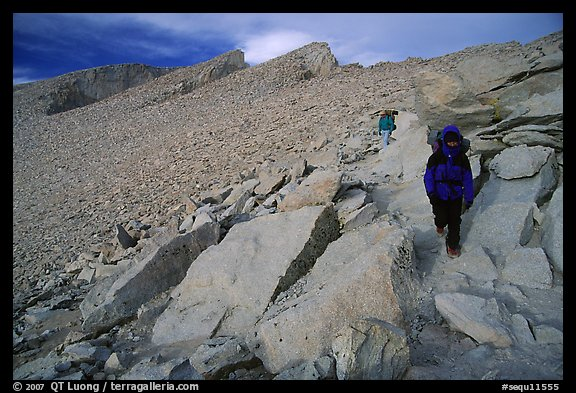 Hiking down Mt Whitney in cold conditions. Sequoia National Park, California