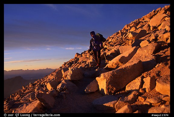 Descending Mt Whitney trail near sunset. Sequoia National Park, California (color)