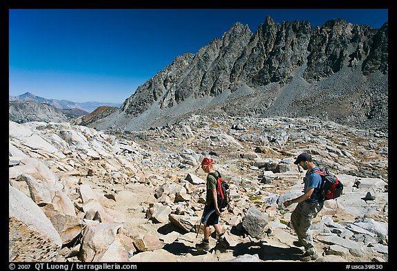 Hikers at Bishop Pass, John Muir Wilderness. Kings Canyon National Park, California (color)