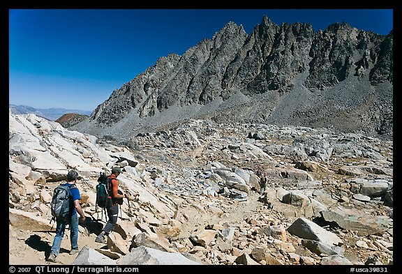 Hikers below Bishop Pass, John Muir Wilderness. Kings Canyon National Park, California (color)