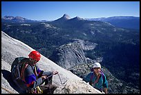 Climbing the Snake Dike route, Half-Dome. Yosemite National Park, California (color)