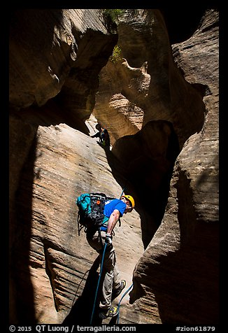 Canyoneers rappel a narrow section of Mystery Canyon. Zion National Park, Utah (color)