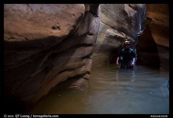 Canyoning in dark narrows, Pine Creek Canyon. Zion National Park, Utah (color)