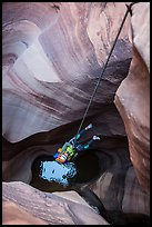 Free rappel seen from above in Pine Creek Canyon. Zion National Park, Utah ( color)