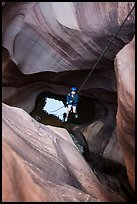 Woman on free hanging rappel in Pine Creek Canyon. Zion National Park, Utah ( color)