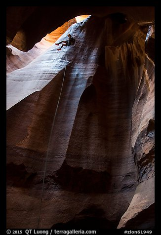 Free hanging rappel in huge chamber, Pine Creek Canyon. Zion National Park, Utah (color)