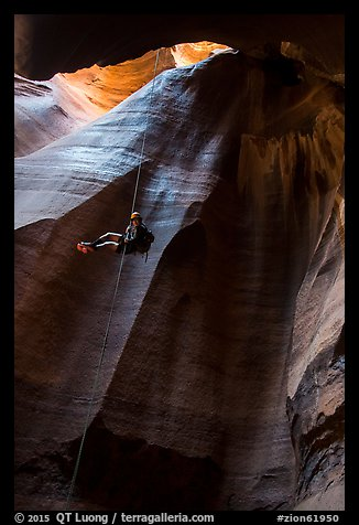 Free rappel inside huge chamber, Pine Creek Canyon. Zion National Park, Utah (color)