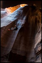 Free rappel inside huge chamber, Pine Creek Canyon. Zion National Park, Utah ( color)