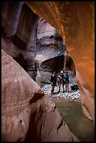 Canyoneers in chamber, Pine Creek Canyon. Zion National Park, Utah ( color)