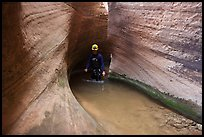 Hiker walks in water in Keyhole Canyon. Zion National Park, Utah ( color)