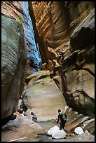 Hikers navigating narrows of Orderville Canyon. Zion National Park, Utah ( color)