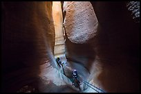 Canyoneers deep in subterranean part of Keyhole Canyon. Zion National Park ( color)