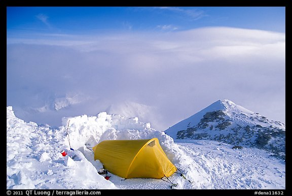 High-altitude camp on the West Rib  of Mt McKinley. Denali National Park (color)