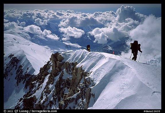 Mountaineers climb West Buttress of Mt McKinley. Denali National Park (color)
