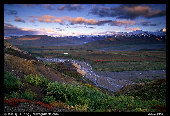 Tundra, braided rivers, Alaska Range in the evening from Polychrome Pass. Denali National Park (color)