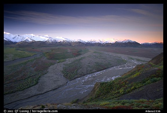 Wide valley with braided rivers and Alaska Range at sunrise from Polychrome Pass. Denali National Park (color)