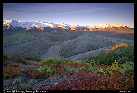 Tundra, braided rivers, Alaska Range at sunrise from Polychrome Pass. Denali National Park (color)