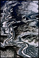 Frozen braided rivers. Denali National Park, Alaska, USA.