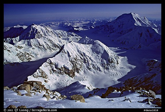 Kahilna peaks and Mt Foraker seen from 16000ft on Mt Mc Kinley. Denali National Park (color)