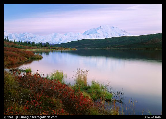 Wonder Lake and Mt McKinley at dusk. Denali National Park (color)