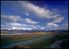 Wide braided rivers, Alaska Range, and clouds, late afternoon. Denali National Park, Alaska, USA. (color)