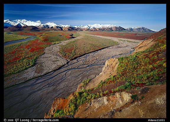 Braided river and Alaska Range from Polychrome Pass. Denali National Park (color)