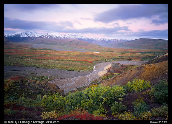 Tundra and braided rivers from Polychrome Pass, afternoon. Denali  National Park (color)