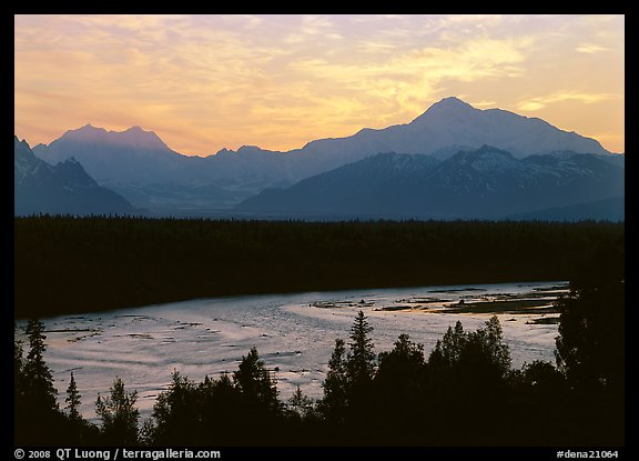 Mt Mc Kinley and Chulitna River at sunset. Denali National Park (color)