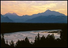 Mt Mc Kinley and Chulitna River at sunset. Denali National Park, Alaska, USA.