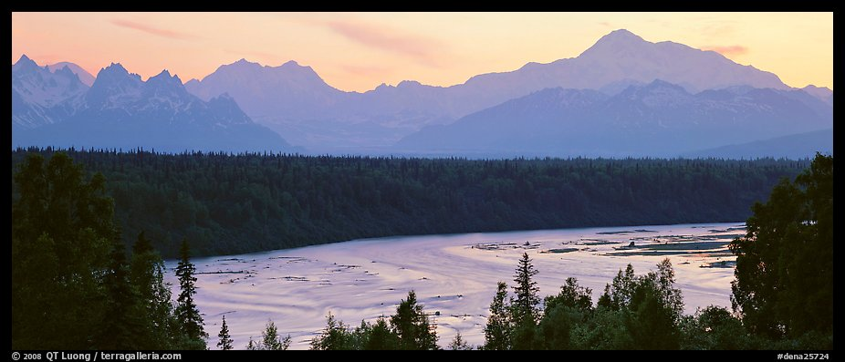 Wide river and Alaska range at sunset. Denali  National Park (color)