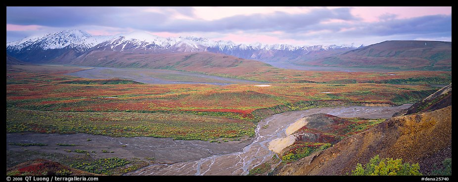 Wide mountain valley with braided river. Denali  National Park (color)