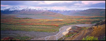 Wide mountain valley with braided river. Denali National Park (Panoramic color)